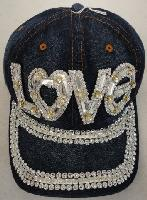 Denim Hat with Bling [LOVE] Silver
